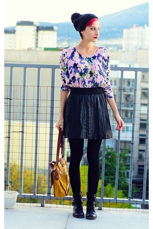 black leather second hand skirt - pompom ovs hat - flower print H&amp;M sweater