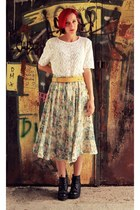 crochet vintage top - vintage skirt