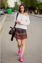 pink sneakers - fluffy second hand sweater - horse Choies bag