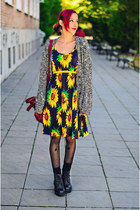 sunflower vintage dress - asos cardigan