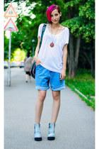 camo H&M boots - denim boyfriend vintage shorts