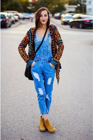 Yoins cardigan - denim overalls Choies jeans