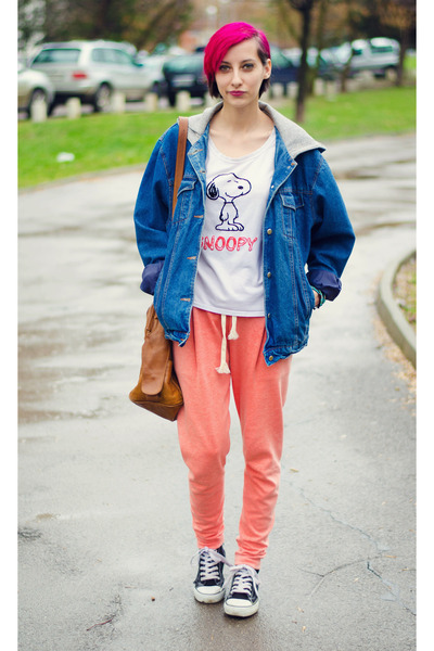 oversize hooded second hand jacket - snoopy second hand t-shirt