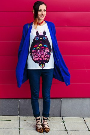 totoro print top - cobalt blue second hand cardigan - Choies flats