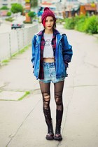 oversized vintage jacket - tartan cichic shirt - high waisted nowIStyle shorts