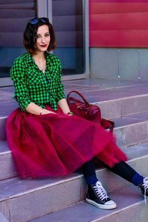 checkered green second hand shirt - tulle ballerina Eddel skirt