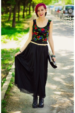 floral second hand top - nowIStyle skirt