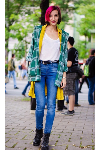 plaid second hand hoodie - high waisted asos jeans - mustard second hand vest