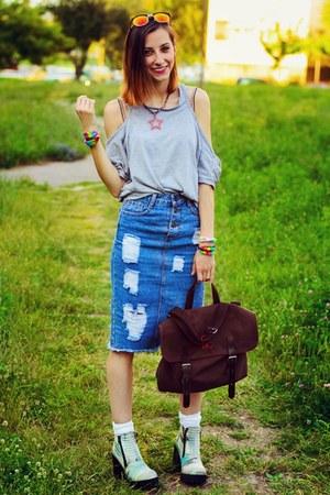Choies top - camo H&M boots - Choies skirt
