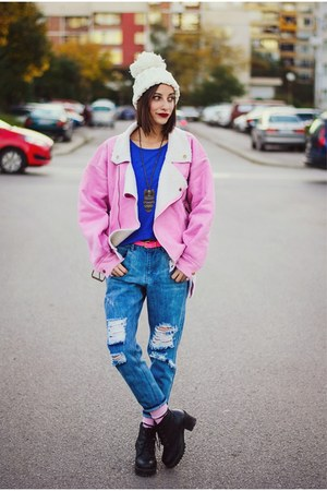 boyfriend Front Row Shop jeans - Choies coat