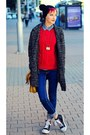Oversize-pull-bear-coat-black-ovs-hat-red-mango-sweater