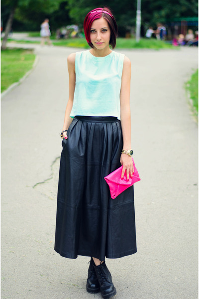 leather vintage skirt - mint Egoist top