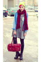 neon nowIStyle hat - denim second hand jacket - H&M scarf - second hand bag