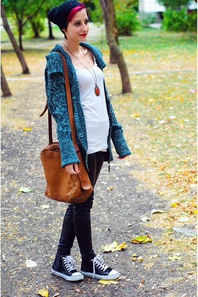 DKNY second hand cardigan - tights - clockhouse top