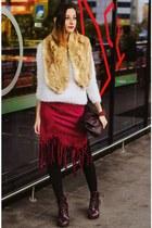 Choies skirt - fluffy second hand sweater - faux fur collar second hand scarf