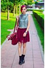 Black-patent-clarks-boots-chiffon-skater-chicnova-skirt