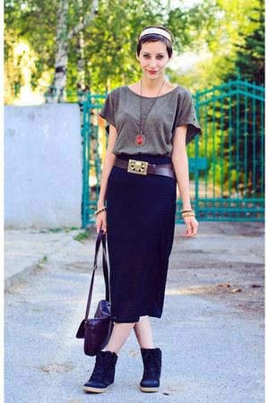 Mango shirt - pencil Topshop skirt - high top wedge River Island sneakers