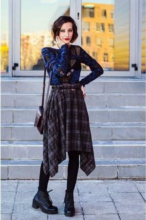 torn H&M sweater - second hand skirt - quartz DIY necklace