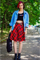plaid second hand skirt - oversize denim John Baners jacket