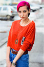Vintage-second-hand-jeans-studded-bag-orange-nowistyle-top