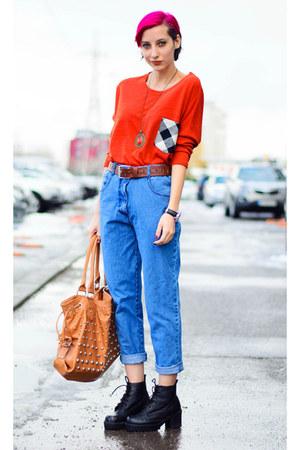 orange nowIStyle top - vintage second hand jeans - studded bag
