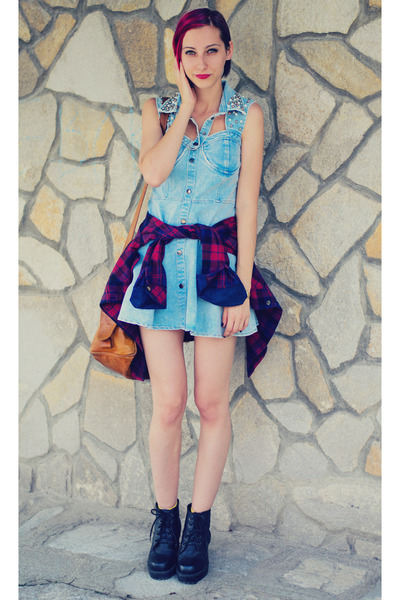 open back denim Sheinside dress - plaid cichic shirt