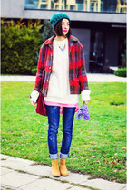 plaid second hand coat - chelsea camel Stradivarius boots - nowIStyle bag