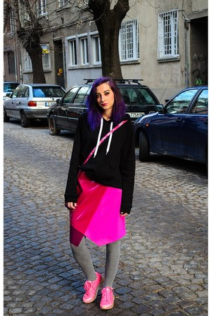 hot pink second hand skirt - black hoodie sweatshirt