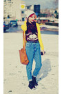 Vintage-jeans-second-hand-jeans-h-m-hat-yellow-cardi-mango-cardigan