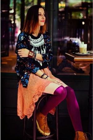 style moi top - Choies boots - wood JORD watch - floral kimono H&M cardigan