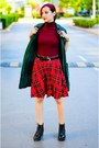 Plaid-second-hand-skirt-turtleneck-nowistyle-top
