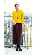 brown leather second hand skirt - yellow second hand sweater