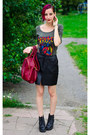 Nowistyle-t-shirt-leather-vintage-skirt