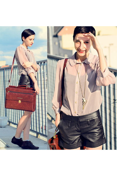 huge vintage bag - transparent River Island shirt - black leather shorts