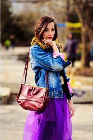 second hand jacket - red leather second hand bag - purple organza Choies skirt