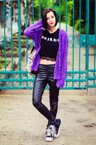 Zara cardigan - Choies top - leather second hand pants
