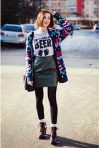 aztec H&M cardigan - SnapMade t-shirt - leather second hand skirt