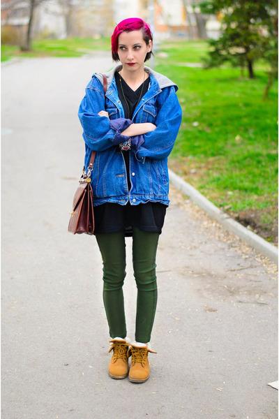 oversize second hand jacket - mustard boots Deichmann boots