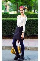 purple second hand skirt - white lace Megz dress - pearl DIY necklace
