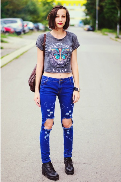 Choies t-shirt - ripped skinny Choies jeans