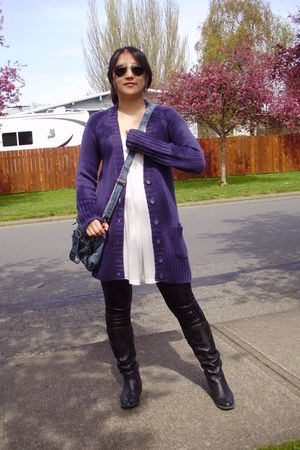 purple Zara cardigan - white unknown top - black Forever 21 leggings - black unk