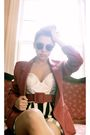 Red-thrifted-blazer-black-thrifted-pants-white-top-black-urban-outfitters-