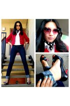 red Armani Exchange jacket - Mango jeans - white Mango shirt - Rochas sunglasses