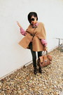 Camel-wool-sheinside-cape-dark-brown-lace-up-madden-girl-boots