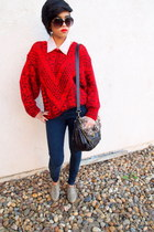 navy skinny jeans Jessica Simpson jeans - red knitted thrifted vintage sweater