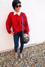 Navy-skinny-jeans-jessica-simpson-jeans-red-knitted-thrifted-vintage-sweater