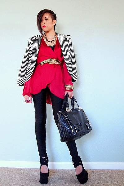 Black and white striped dress with red blazer