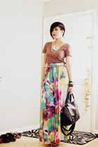 hot pink maxi H&M skirt - bronze crew neck unknown shirt