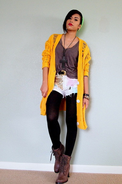 mustard distressed knit OASAP cardigan - brown lace up Steve Madden boots