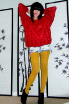 Forever 21 tights - booties Qupid boots - chunky knit Christinas sweater